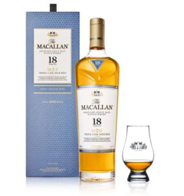 The Macallan 18 y copa Glencairn